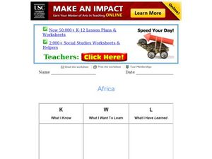 Africa KWL Chart Worksheet