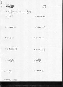 Derivatives Worksheet