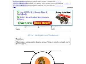 African Lion Adjectives Worksheet