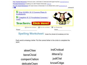 Grade Five Spelling/Vocabulary Practice Worksheet