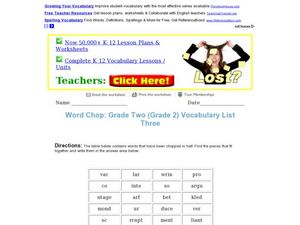 Vocabulary Word Chop Worksheet