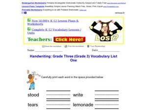 Handwriting: Grade 3 Vocabulary Worksheet