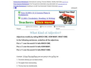 What Kind of Adjective? Worksheet