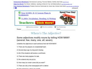 Where's the Adjective? How Many Worksheet