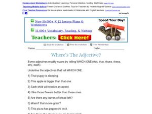 Where's The Adjective? Which One? Worksheet