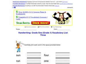 Handwriting: Vocabulary-Grade 1 Worksheet