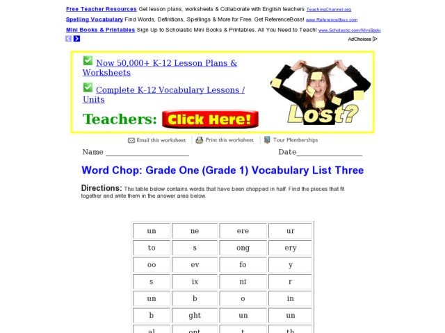 Word Chop: Grade One Vocabulary 3 Worksheet for 1st Grade | Lesson