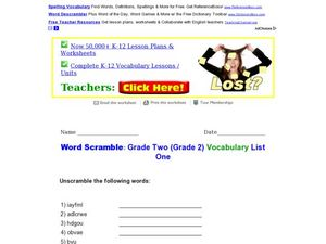 Word Scramble: Grade Two Vocabulary List 1 Worksheet