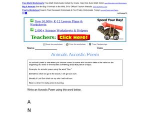 Animals Acrostic Poem Worksheet