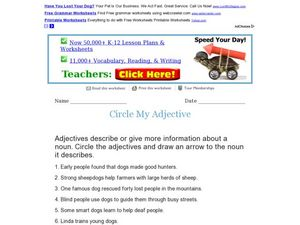 Circle My Adjective Worksheet