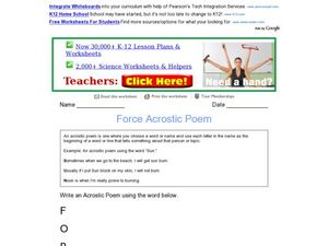 Force Acrostic Poem Worksheet