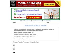 Human Acrostic Poem Worksheet