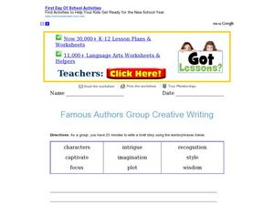 Great Authors Group Creative Writing Lesson Plan