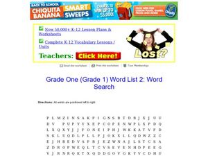 Grade One Word Search Worksheet