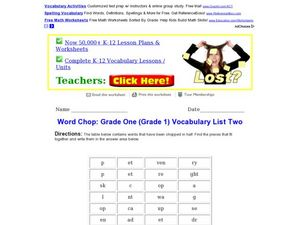 Word Chop: Grade One Vocabulary List Two Worksheet