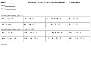 Evaluate Integer Expression Worksheet Worksheet