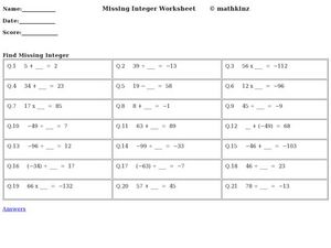 Missing Integer Worksheet Worksheet