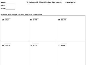 Division With Two-Digit Divisors Worksheet