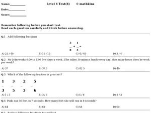 Level 4 Test- Math Worksheet