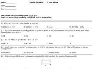 Level 6 Test (2) Worksheet