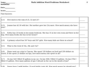 Math Addition Word Problems Worksheet Worksheet