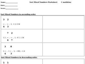 Sort Mixed Numbers Worksheet