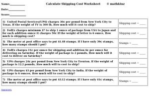 Calculate Shipping Cost Worksheet Worksheet