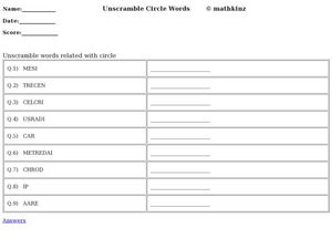 Unscramble Circle Words Worksheet