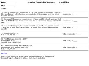 calculating commission worksheet