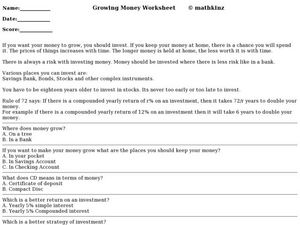 The Growing Money Worksheet Worksheet