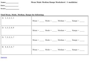 Mean, Mode, Median, Range Worksheet