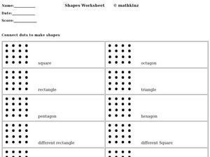 Shapes Worksheet: Connect Dots Worksheet