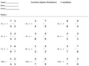 Fraction Algebra Worksheet: Using Addition and Subtraction Worksheet