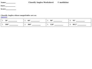 Classify Angles Worksheet Worksheet