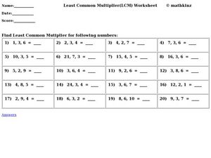Least Common Multiplier (LCM) Worksheet Worksheet