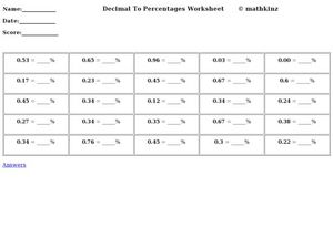 Decimal to Percentages Worksheet Worksheet