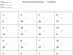 Reduce Fractions Worksheet Worksheet