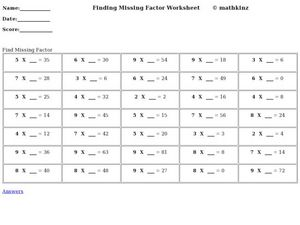 Finding Missing Factor Worksheet Worksheet