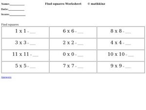 Find Square Numbers Worksheet