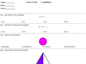 Level 1 Test: Math Review Worksheet