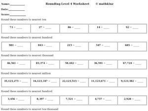 Rounding: Level 4 Worksheet