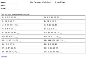 Mix Patterns Worksheet Worksheet