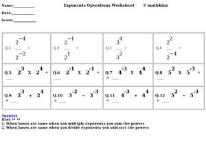 Exponents Operations Worksheet Worksheet