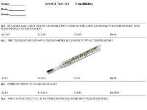 Level 2 Test 4- Math Assessment Worksheet