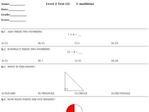 Level 2 (Test 3)- Math Worksheet