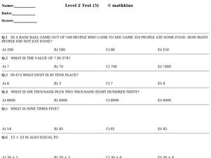 Math Concepts Test Worksheet