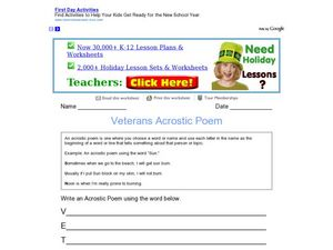 Veterans Acrostic Poem Worksheet