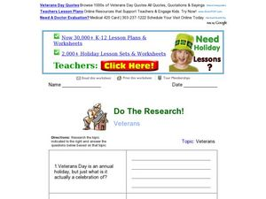 Do The Research! Veterans Worksheet