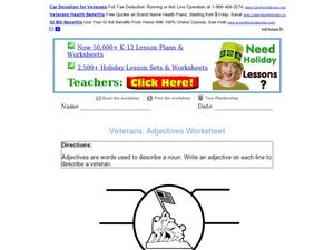Veterans: Adjectives Worksheet Worksheet