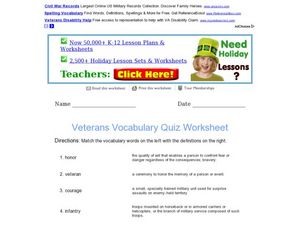 Veterans Vocabulary Quiz Worksheet